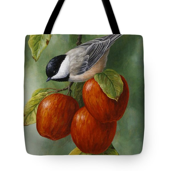 Apple Chickadee Greeting Card 3 Tote Bag
