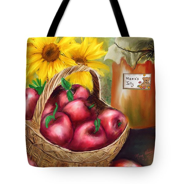 Tote Bag featuring the digital art Apple Harvest by Mary Almond