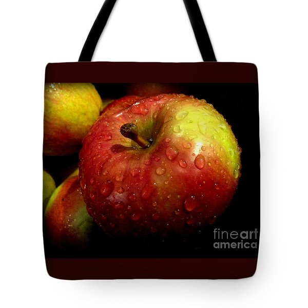 Apple In The Rain Tote Bag by Miriam Danar