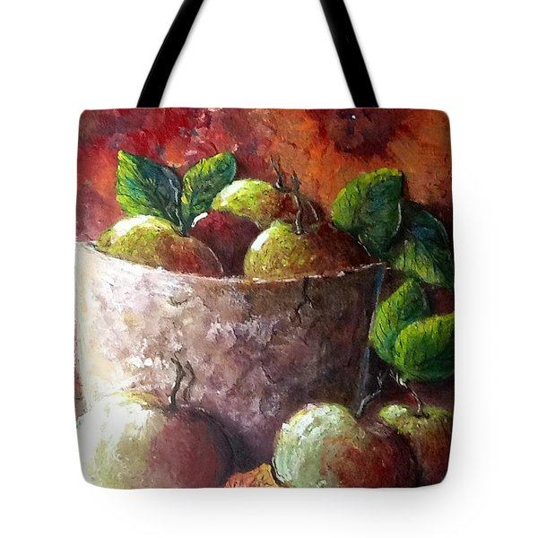 Tote Bag featuring the painting Apple Picking Time by Megan Walsh
