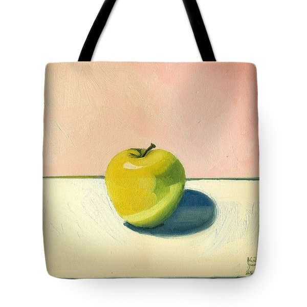Apple - Pink And White Tote Bag