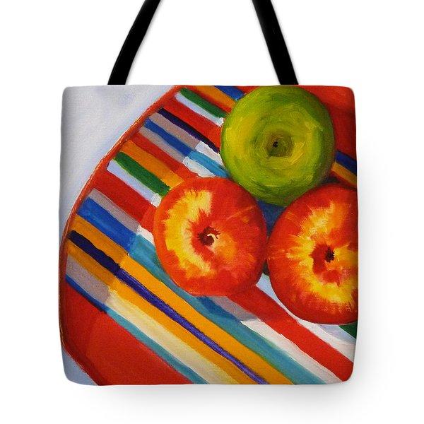 Apple Stripe Tote Bag by Nancy Merkle