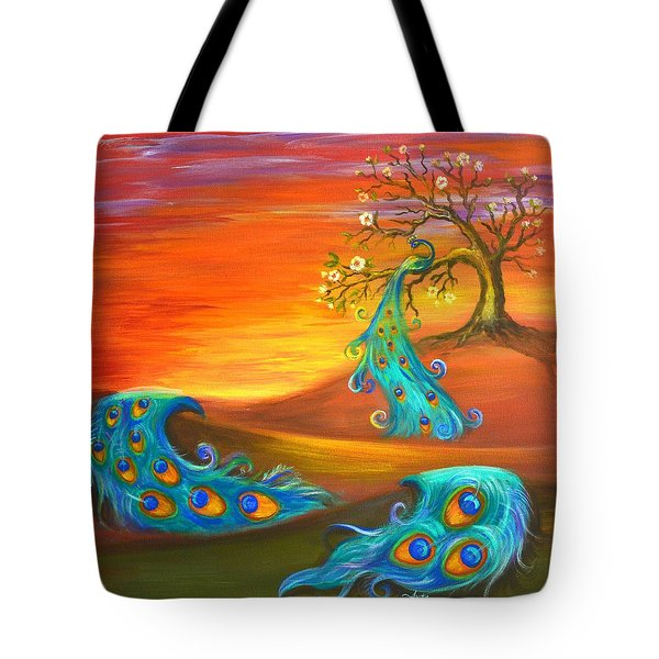 Tote Bag featuring the painting Apple Tree With A Peacock by Agata Lindquist