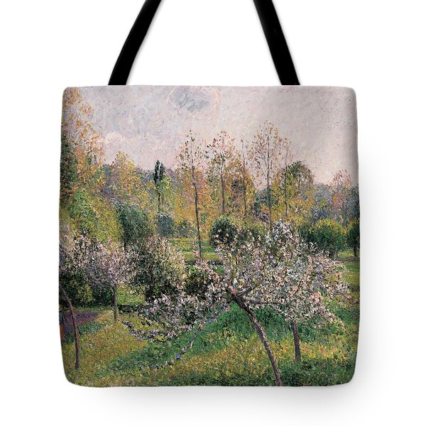 Apple Trees In Blossom Tote Bag by Camille Pissarro
