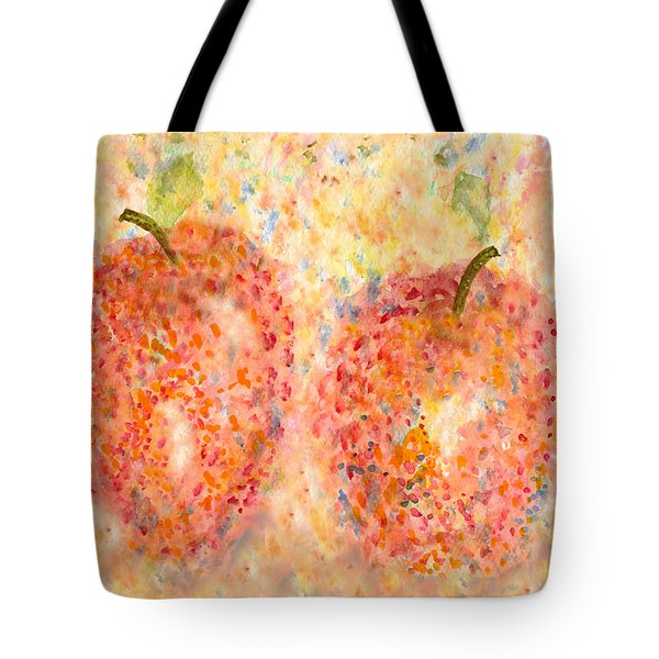 Tote Bag featuring the painting Apple Twins by Paula Ayers