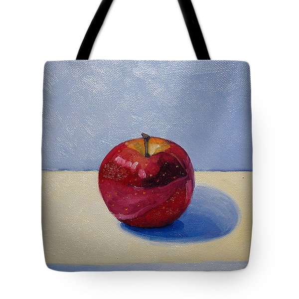 Apple - White And Blue. Tote Bag by Katherine Miller