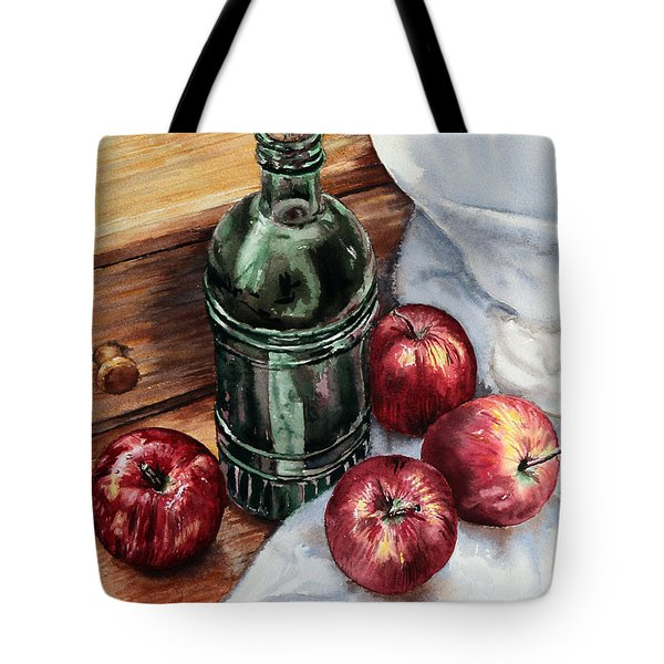 Tote Bag featuring the painting Apples And A Bottle Of Liqueur by Joey Agbayani