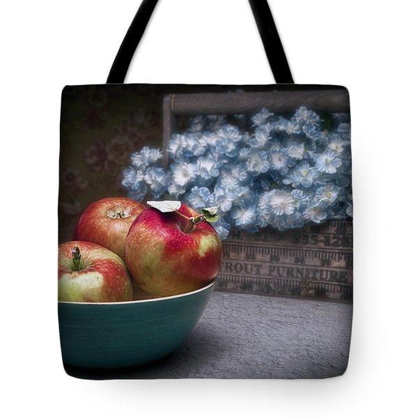 Apples And Flower Basket Still Life Tote Bag