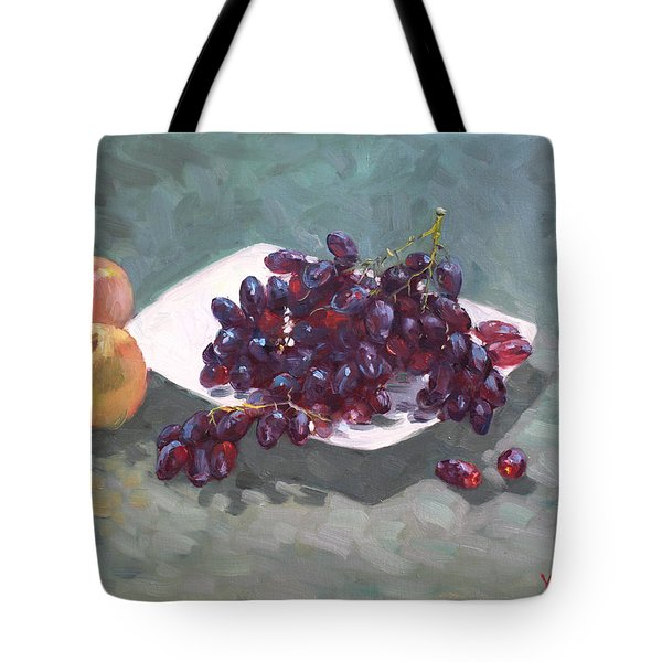 Apples And Grapes Tote Bag by Ylli Haruni