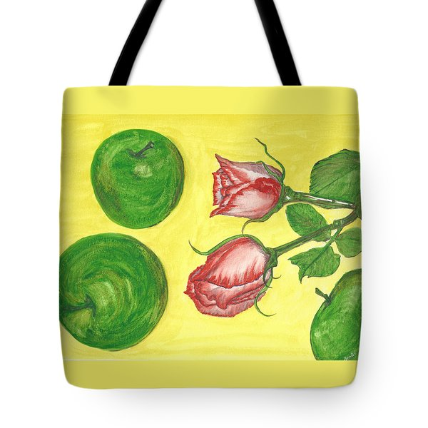 Apples And Roses Tote Bag