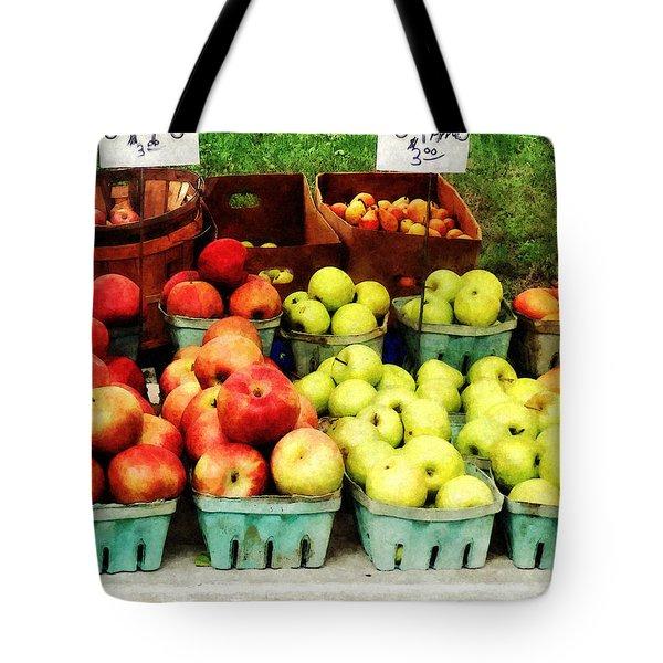 Apples At Farmer's Market Tote Bag by Susan Savad