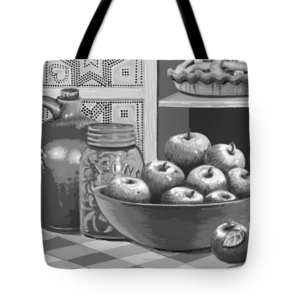 Tote Bag featuring the digital art Apples Four Ways by Carol Jacobs
