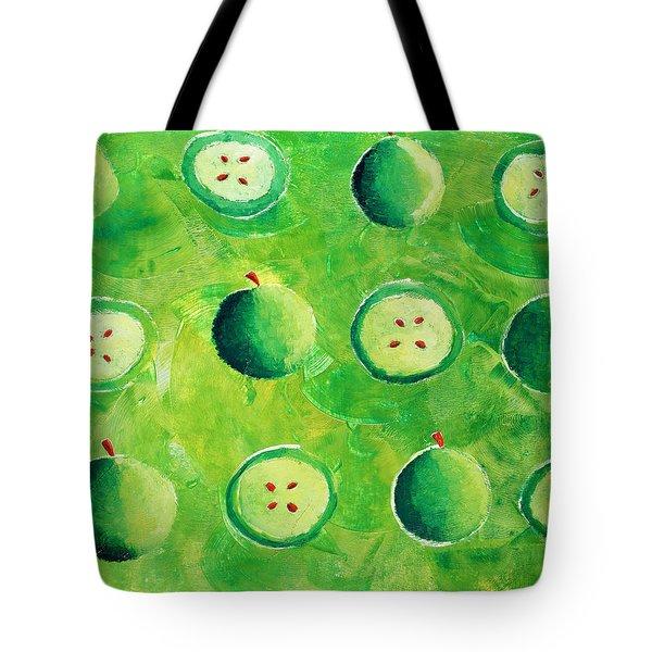Apples In Halves Tote Bag by Julie Nicholls