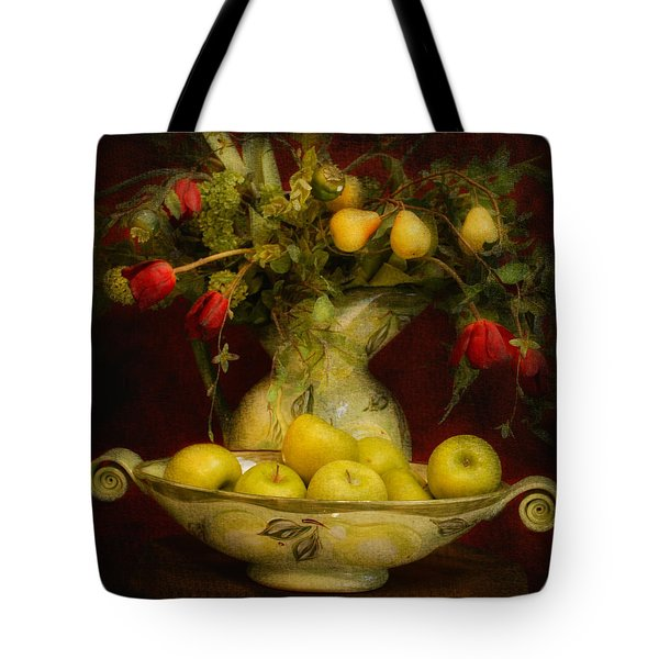 Apples Pears And Tulips Tote Bag by Jeff Burgess