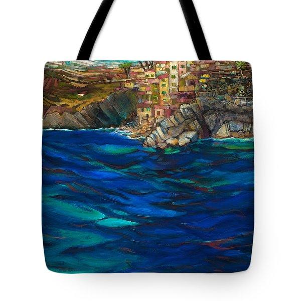 Approach To Riomaggiore Tote Bag by Jen Norton