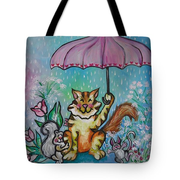 Tote Bag featuring the painting April Showers by Leslie Manley