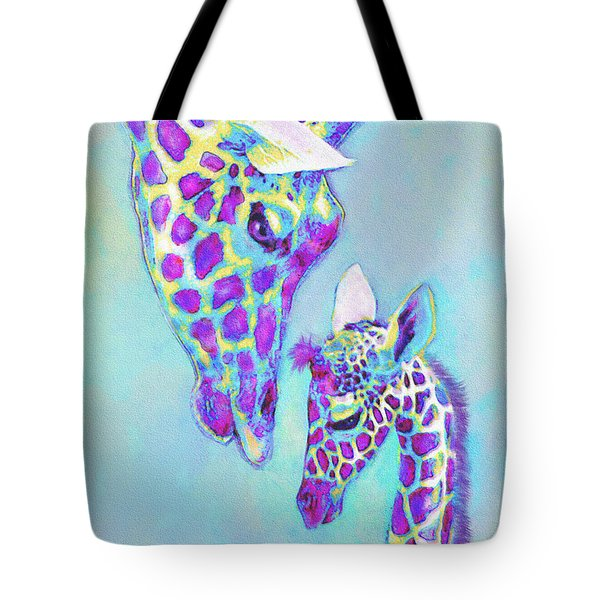 Tote Bag featuring the digital art Aqua And Purple Loving Giraffes by Jane Schnetlage