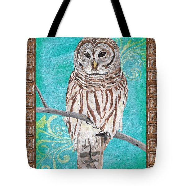 Aqua Barred Owl Tote Bag
