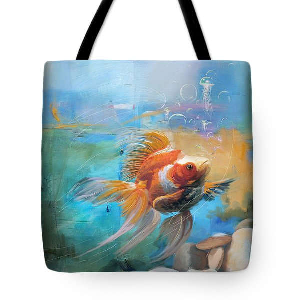 Aqua Gold Tote Bag by Catf