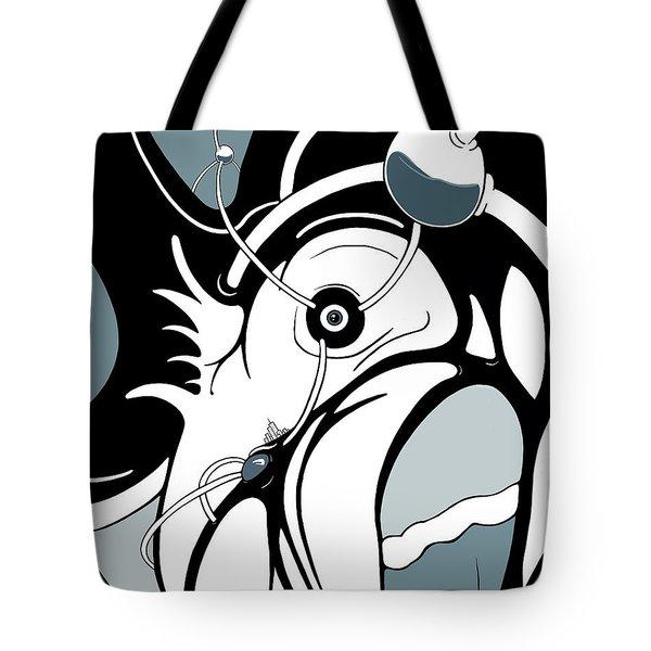 Aqua Grid Tote Bag