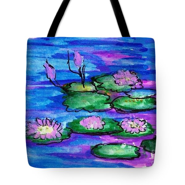 Tote Bag featuring the painting Aqua Lilies  by Ecinja Art Works