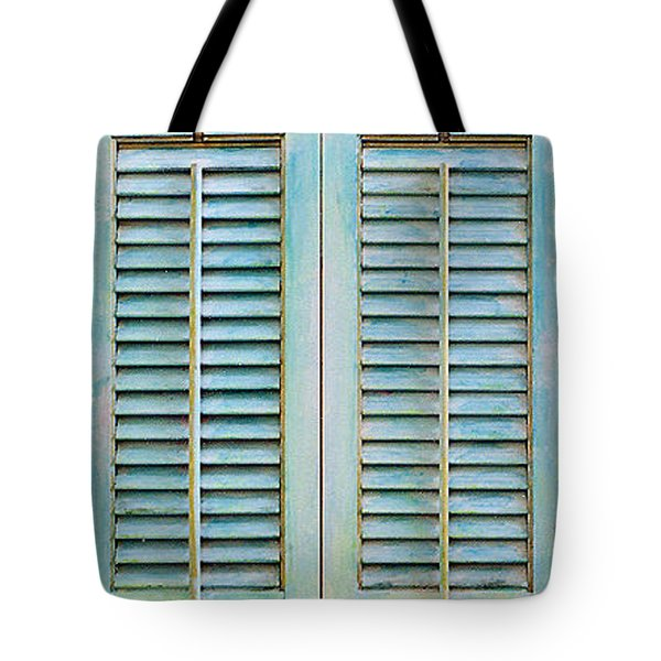 Aqua Shutters Tote Bag by Asha Carolyn Young