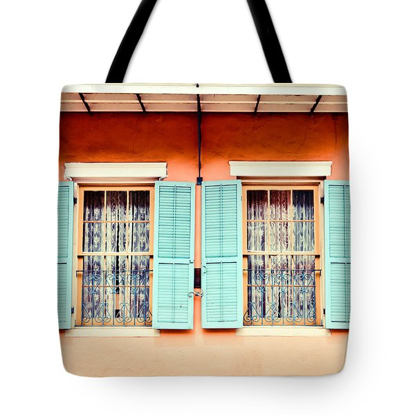 Tote Bag featuring the photograph Aqua Shutters by Sylvia Cook
