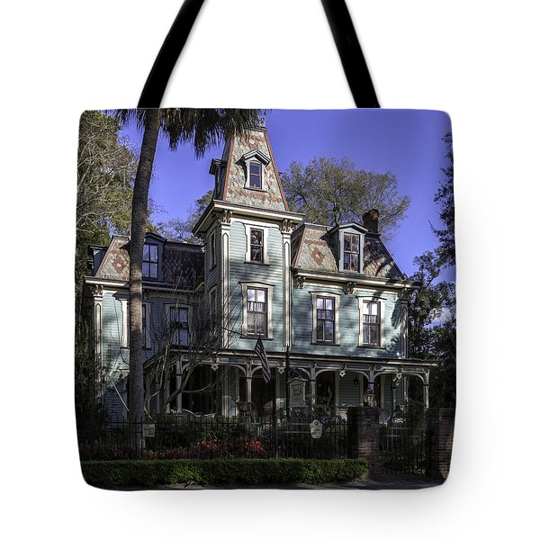 Aqua Victorian Painted Lady Tote Bag by Lynn Palmer