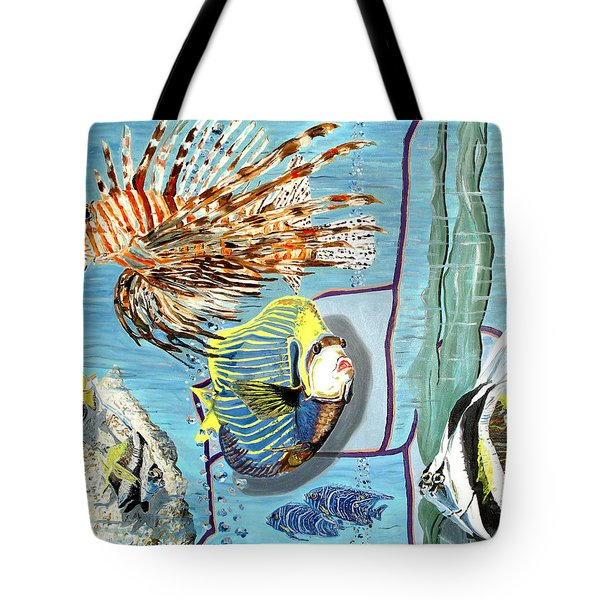 Tote Bag featuring the painting Aquarium by Daniel Janda