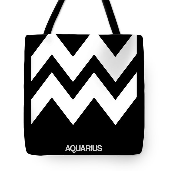 Aquarius Zodiac Sign White Tote Bag by Naxart Studio