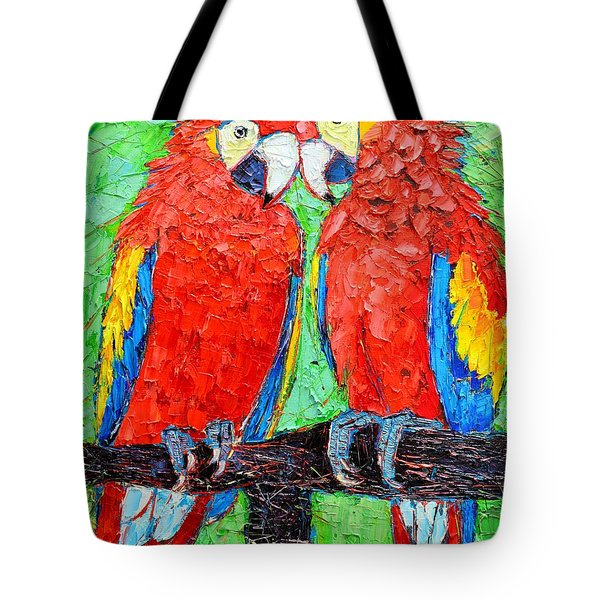 Ara Love A Moment Of Tenderness Between Two Scarlet Macaw Parrots Tote Bag by Ana Maria Edulescu