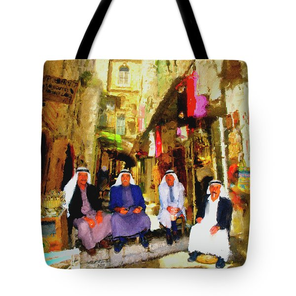 Tote Bag featuring the painting Arab Merchants Of Jerusleum by Ted Azriel