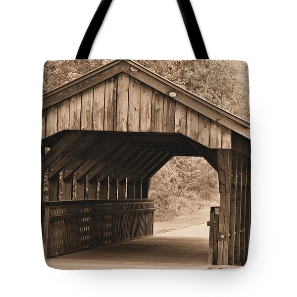 Arabia Mountain Covered Bridge Tote Bag by Tara Potts
