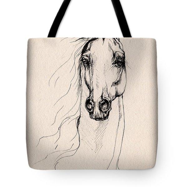 Arabian Horse Drawing 25 Tote Bag by Angel  Tarantella