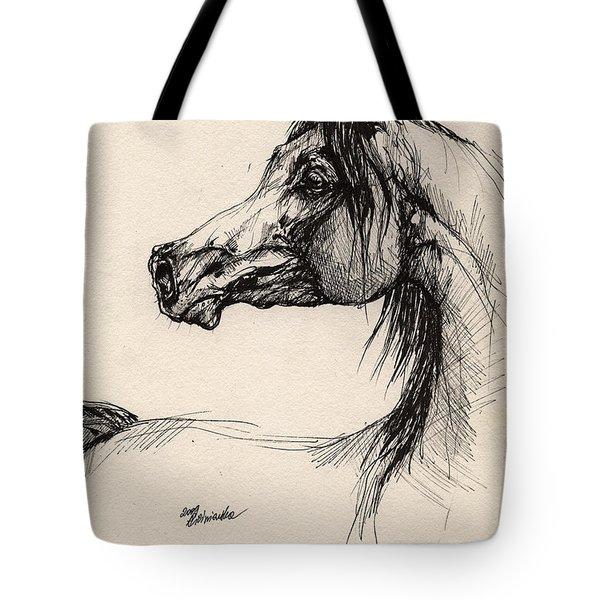 Arabian Horse Drawing 26 Tote Bag by Angel  Tarantella