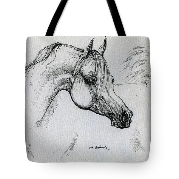 Arabian Horse Drawing 28 Tote Bag by Angel  Tarantella