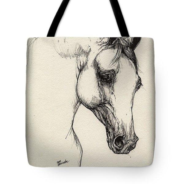 Arabian Horse Drawing 32 Tote Bag by Angel  Tarantella