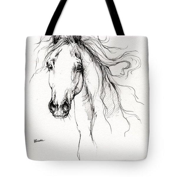 Arabian Horse Drawing 4 Tote Bag by Angel  Tarantella