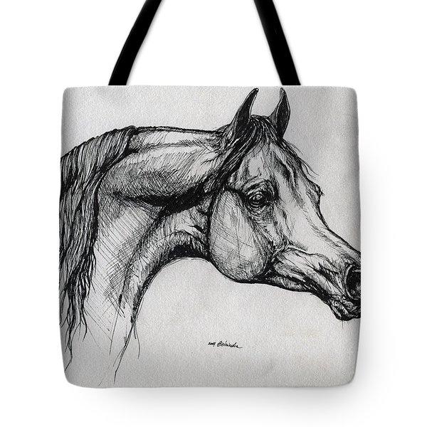 Arabian Horse Drawing 40 Tote Bag by Angel  Tarantella