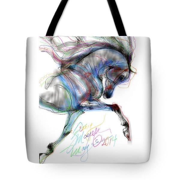 Arabian Horse Trotting In Air Tote Bag