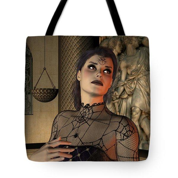Tote Bag featuring the digital art Arachna by Jayne Wilson