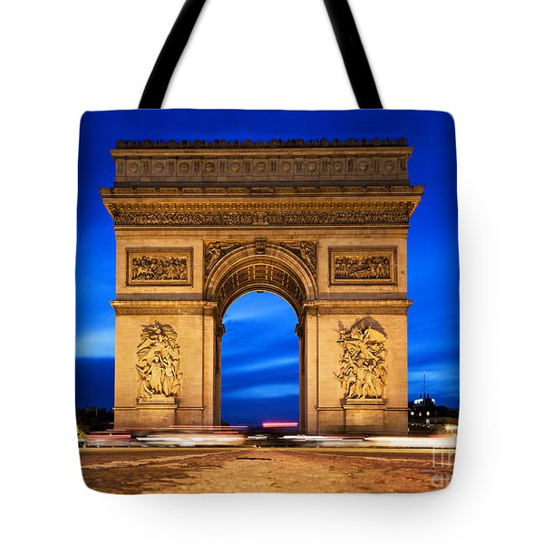 Arc De Triomphe At Night Paris France  Tote Bag