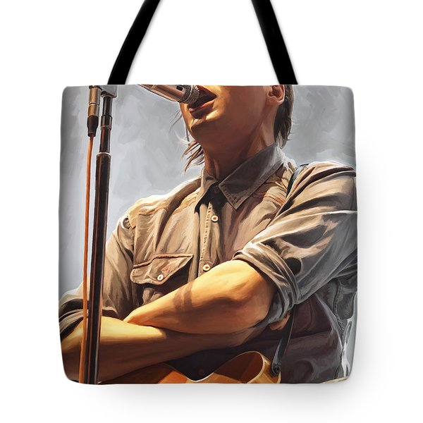 Tote Bag featuring the painting Arcade Fire Win Butler Artwork by Sheraz A