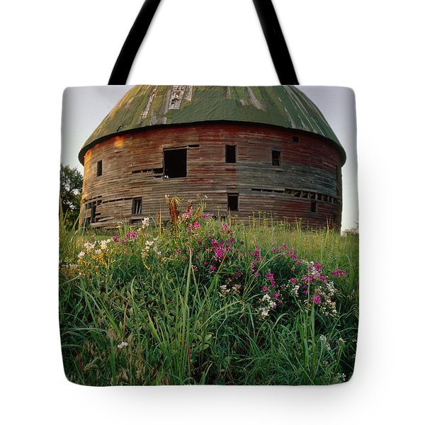 Arcadia Round Barn And Wildflowers Tote Bag
