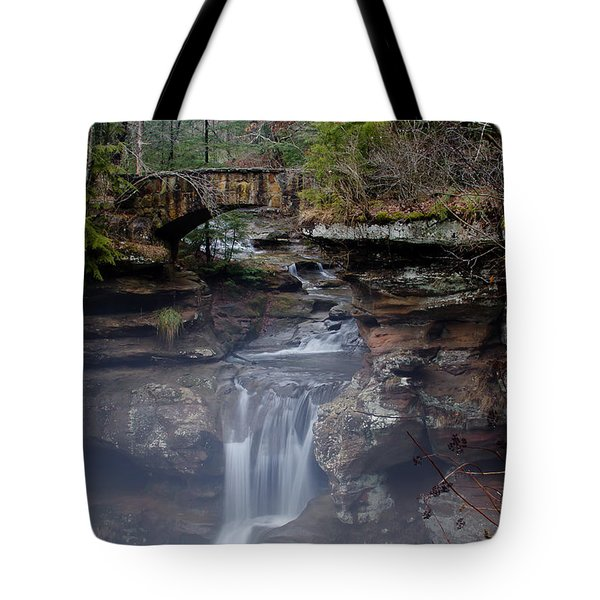 Arch Bridge In The Fog Tote Bag