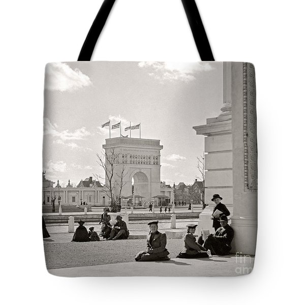 Tote Bag featuring the photograph Arch Of States Trans Mississippi 1898 by Martin Konopacki Restoration