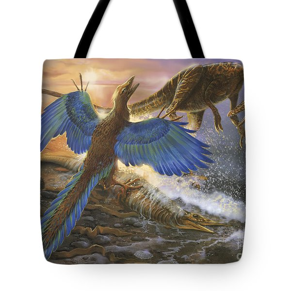 Archaeopteryx Defending Its Prey Tote Bag
