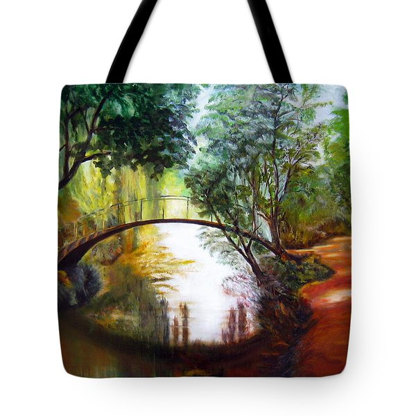 Arched Bridge Over Brilliant Waters Tote Bag