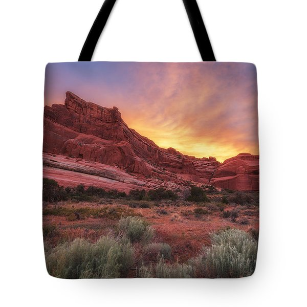 Arches Fire In The Sky Tote Bag by Darren  White