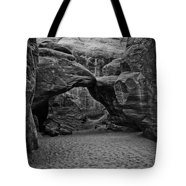 Arches National Park Black And White Tote Bag by Bob and Nadine Johnston